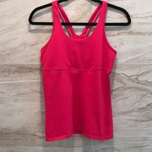Dark pink LULULEMON tank with mesh back.